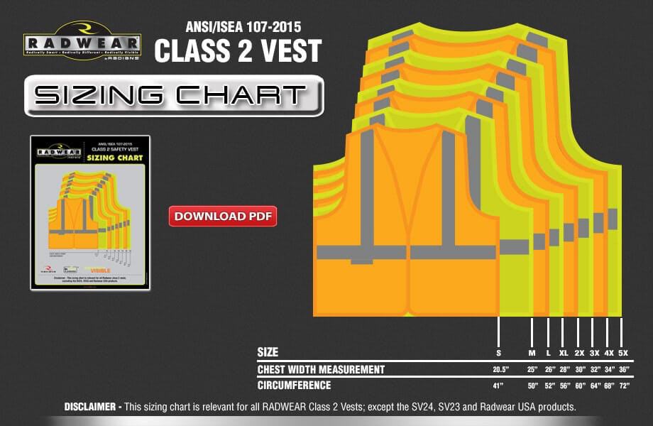 Class 2 Vest sizing chart