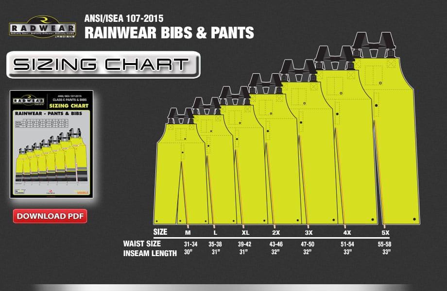 Rainwear Bibs Sizing Chart