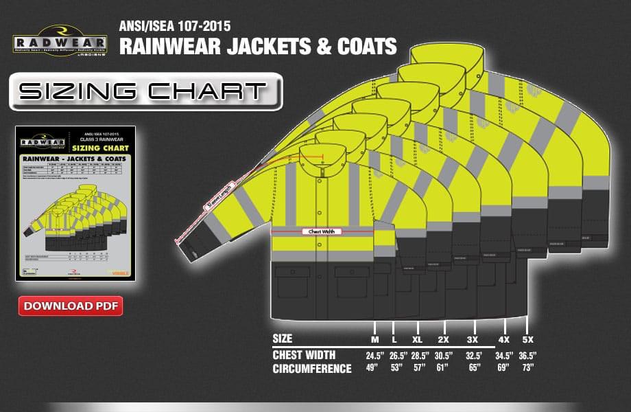 Rainwear Jackets & Coats Sizing Chart