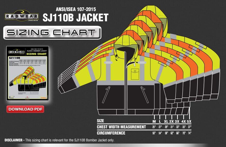 SJ110B Jacket Sizing Chart