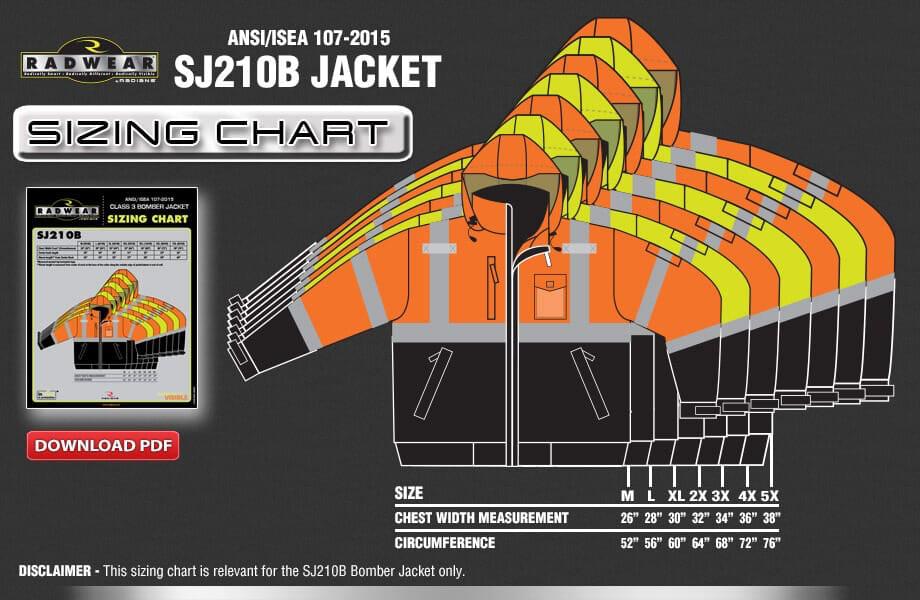 SJ210B Jacket Sizing Chart