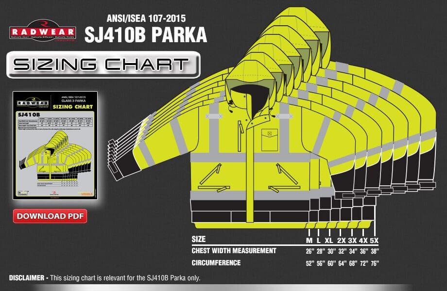 SJ410B Parka Sizing Chart