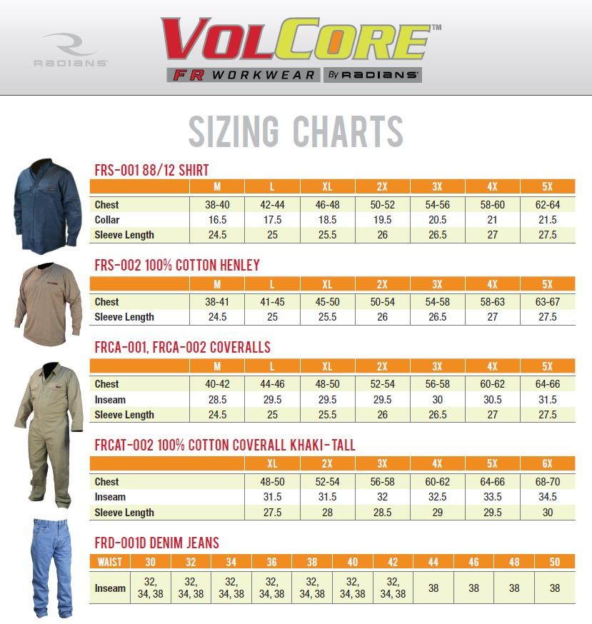 FR Workwear Sizing Chart